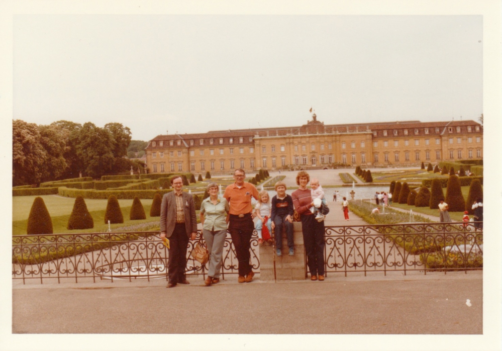 My mom with me, David, Heidi, and Grandma and Grandpa with their friend in Stuttgart